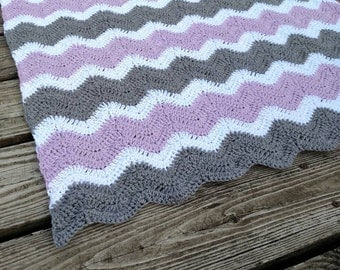 Ohio State Crochet Chevron Blanket With Crocheted Block O