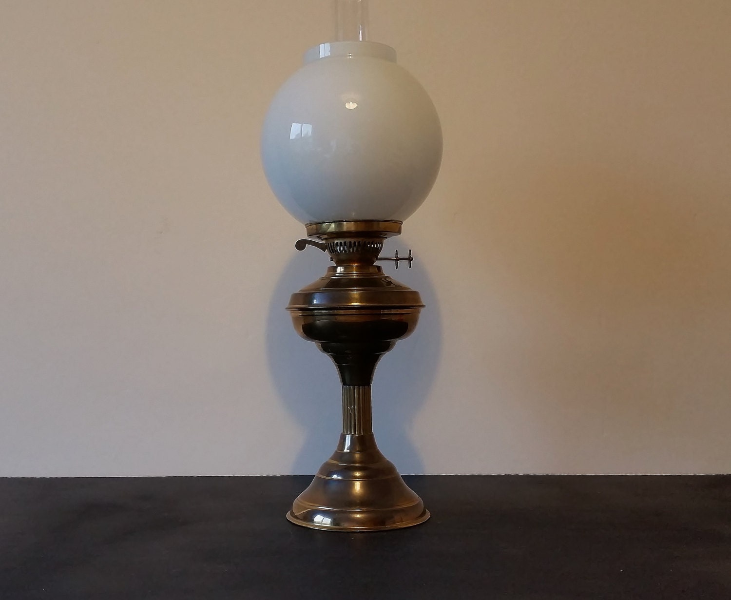 Antique Vintage Paraffin Lamp Tall Brass Oil Lantern