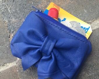 Leather bow zipper multi-use coin purse