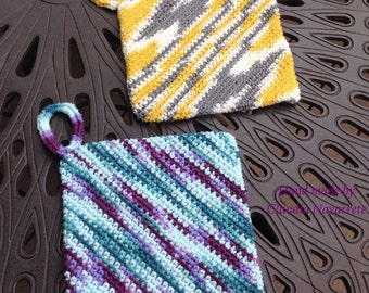 Set of diagonal double thick potholders