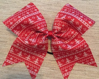 Ugly christmas sweater bow, christmas tree bow, red and green bow, christmas bow, cheer bow, christmas cheer bow, sublimated bow