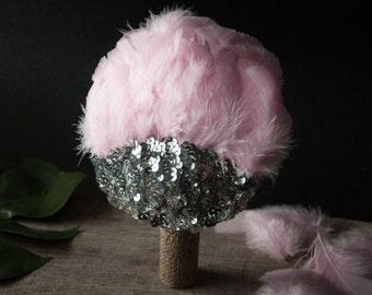 SALE - Fascinator Pastel Pink Silver