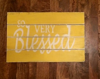 So very blessed pallet wall art kitchen decor distressed saying bright family beautiful family room made to order custom