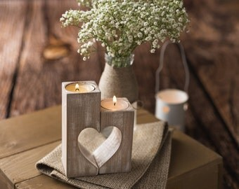 Wooden heart candle holders, Rustic candle holders, Wooden tea light holder, Mother's day gift, Rustic Wedding Decor, Woodland centerpiece