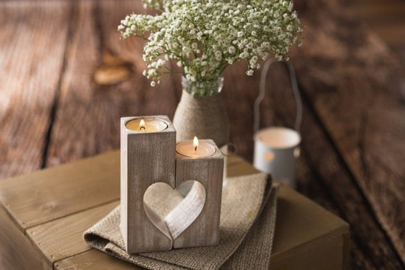 Mothers day gift Candle holders Wood heart candle holder Rustic Wooden tea light holder Wedding Decoration Gift for Mom Woodland centerpiece