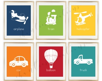 Transportation Printable Wall Art Nursery Decor,  Aviation, Train , Plane, Boys Room Wall Art, Helicopter Decor, - Set of 6 Prints