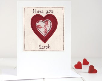 Love Heart Card - Personalised Heart Card - Valentine's Card - Romantic Card - 2nd Anniversary Card - 4th Anniversary Card - Card For Wife