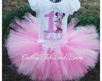 Minnie Mouse Birthday Outfit- Minnie Mouse Birthday tutu- Minnie Mouse tutu Outfit- Minnie Mouse tutu- Pink minnie mouse- Pink minnie tutu
