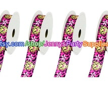 5 Yrds Safari Ribbon, Cheetah Ribbon, Jungle Ribbon, Hair Bow Cheetah Ribbon, Pink Safari Ribbon, Ribbon for Girls, Decorative Ribbon