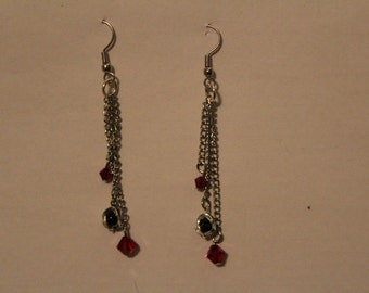 Earrings - Gothic Red & black with Chains