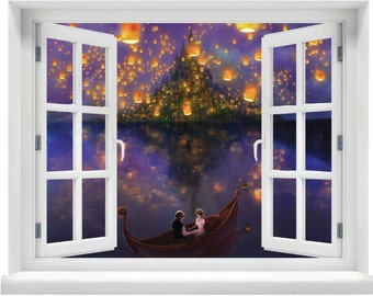 Window with a View Disney Tangled Lanterns Over Lake Wall Mural