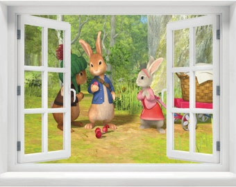 Window With A View Beatrix Potter Peter Rabbit, Benjamin Bunny And Lily  Cottontail Wall Mural Part 63