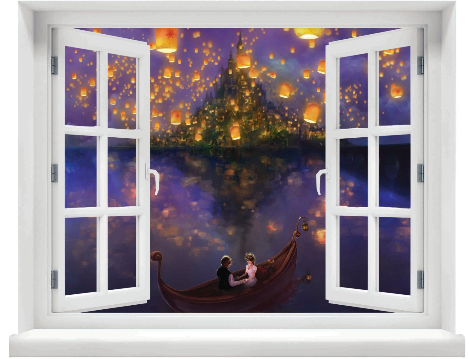 window with a view disney tangled lanterns over lake wall zoom