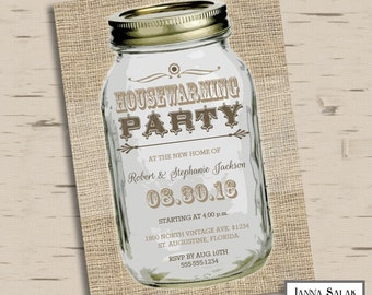 Housewarming Party Rustic Mason Jar 5x7 - You Edit- INSTANT DOWNLOAD Editable Pdf
