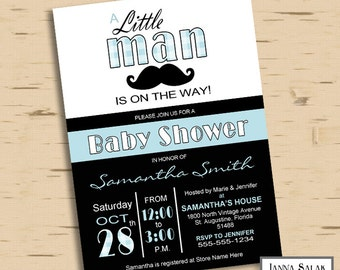 Little Man Baby Shower Invitation Printable Mustache Party Blue and Black