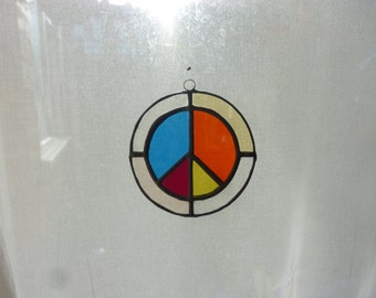 Stained glass peace  mark circle