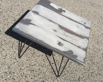 Reclaimed Barnwood Side Table with Hairpin Legs