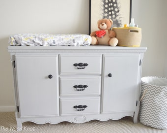 Buffet, console table, dresser, changing table, nursery. Annie Sloan chalk paint in Paris Gray, black handles original. Wooden hand painted