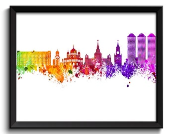 Moscow Skyline Painting Poster Print Moscow Wall Decor Moscow Wall Art  Green Yellow Pink Red Purple Pink Russia City Map Home Decor