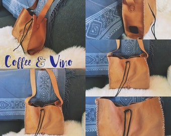 SOLD//C + V Camel Oil Stained Cross-body is simple//sleek//gorgeous!! Made from beautiful camel stained leather!