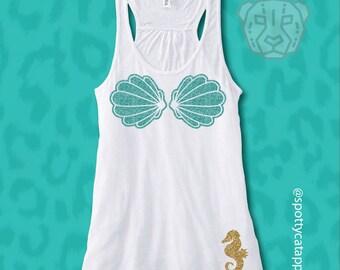 MERMAID BIKINI SHELL Top, Flowy racerback tank,beach, mermaid,fitness, gym ,workout,mermaid clothing