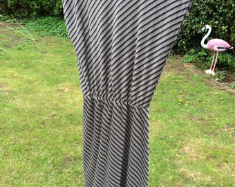 Grey, black and sprkly, striped vintage dress