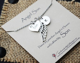 Loss of Son, Memorial Necklace, Memorial Gift, Remembrance Jewelry, Sympathy Jewelry, Memorial Jewelry, Sympathy Gift, Guardian Angel