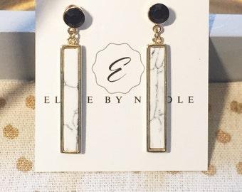 Black and white howlite earrings