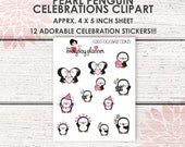 Kawaii Penguin Celebrations Clipart | 12 kiss-cut stickers | 4x5 inch sheet | Fits most planners! | CA10 |