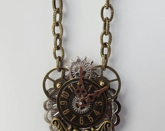Steampunk style necklace, watch dial necklace