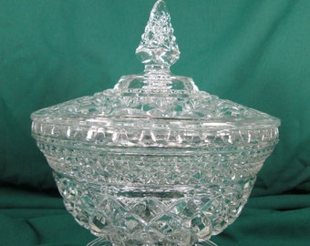 """Large Covered Candy by Anchor Hocking, WEXFORD Clear Cris-Cross Diamond Pattern, 7 3/4"""" Footed Covered Bowl Mid Century Elegant Glassware"""