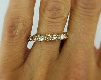 14k Rose Gold Diamond Wedding ring 1.25 Carat Total Weight -  Rose Gold Wedding ring - wedding band- anniversary Champagne Diamond Band -