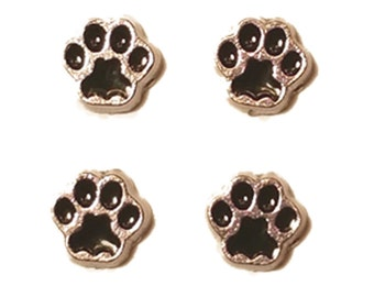 PAWS Magnet Set ~ 4 Tiny metal paw magnets Cat Dog Lover