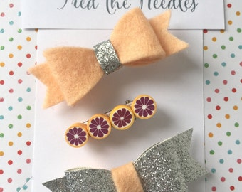 Hair Clips, Hair Barretes, Girls Hair Accessories, Glitter Bows, Fruit