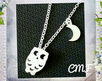 Owl and Moon Necklace 925 Sterling Silver Necklace Owl Pendant Owl Necklace