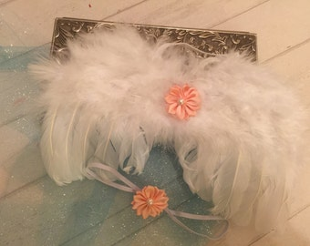CLEARANCE 75% OFF!Newborn White Angel Wings,Newborn Photo Prop, Angel wing Prop,Baby wings with headband photo prop, white feather wingS
