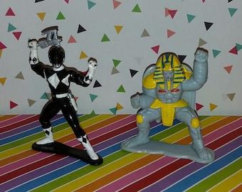 Vintage Lot of 2 Bandai Power Rangers Figures - Black Ranger and King Sphinx