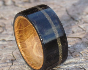 Ebony, Oak and Sand Wooden Ring available in all UK and US ring sizes and from 6mm wide to 10mm wide