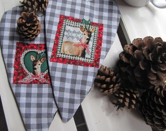 SET of 2 Mug coasters, Christmas in handmade, table decoration, Christmas in July, Wreath, Cottage style, Deer decoration
