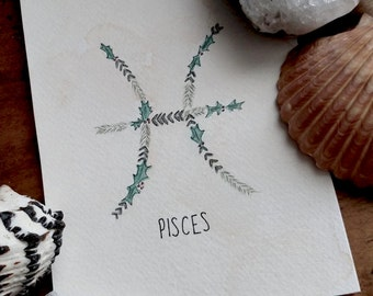 Zodiac Watercolor - Pisces
