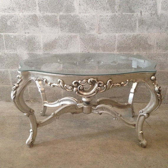 French Rococo Coffee Table: Silver Coffee Table French Louis XVI Glass Silver Leaf Heavy