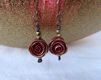 Ruby Red Rose Earrings
