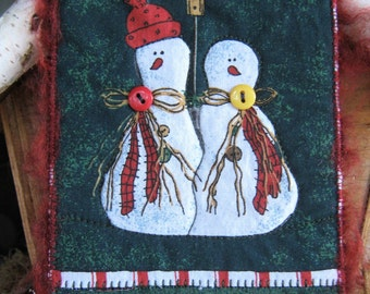 Snowman Couple Postcard, Snowman Quilted Postcard, Christmas Gift, Gift for Friends, Handmade Card, 4x6