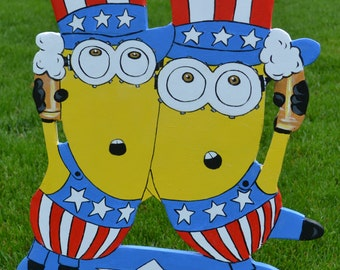 Minions 4th of July Independance Day American Flag Lawn stakes  yard art lawn art