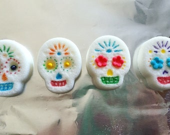 Edible Sugar Skulls (6) Handmade for Day of the Dead, Dia de Los Muertos, or as a creative sweetener