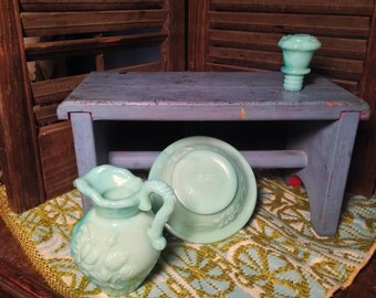 Vintage Avon Aqua Green Decanter Pitcher and Bowl with Marbled Glass