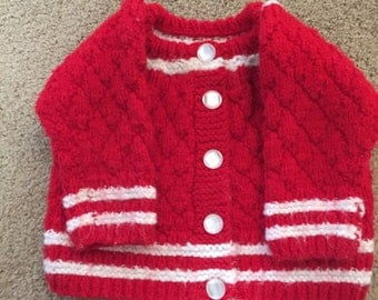 Vintage little girls hand knitted red and white sweater, size 6-12 months