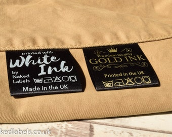 300 x Custom clothing labels - Black Satin with GOLD or milky white ink - custom fabric Labels, sew-in clothing labels, clothing tags