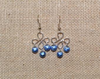Blue or Pink Twist Earrings