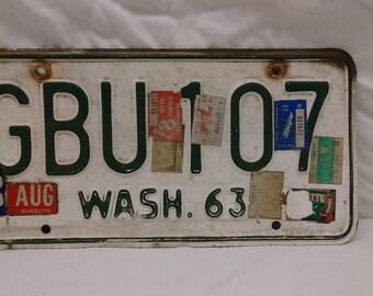 Wa state Vintage 1963 License plate.
